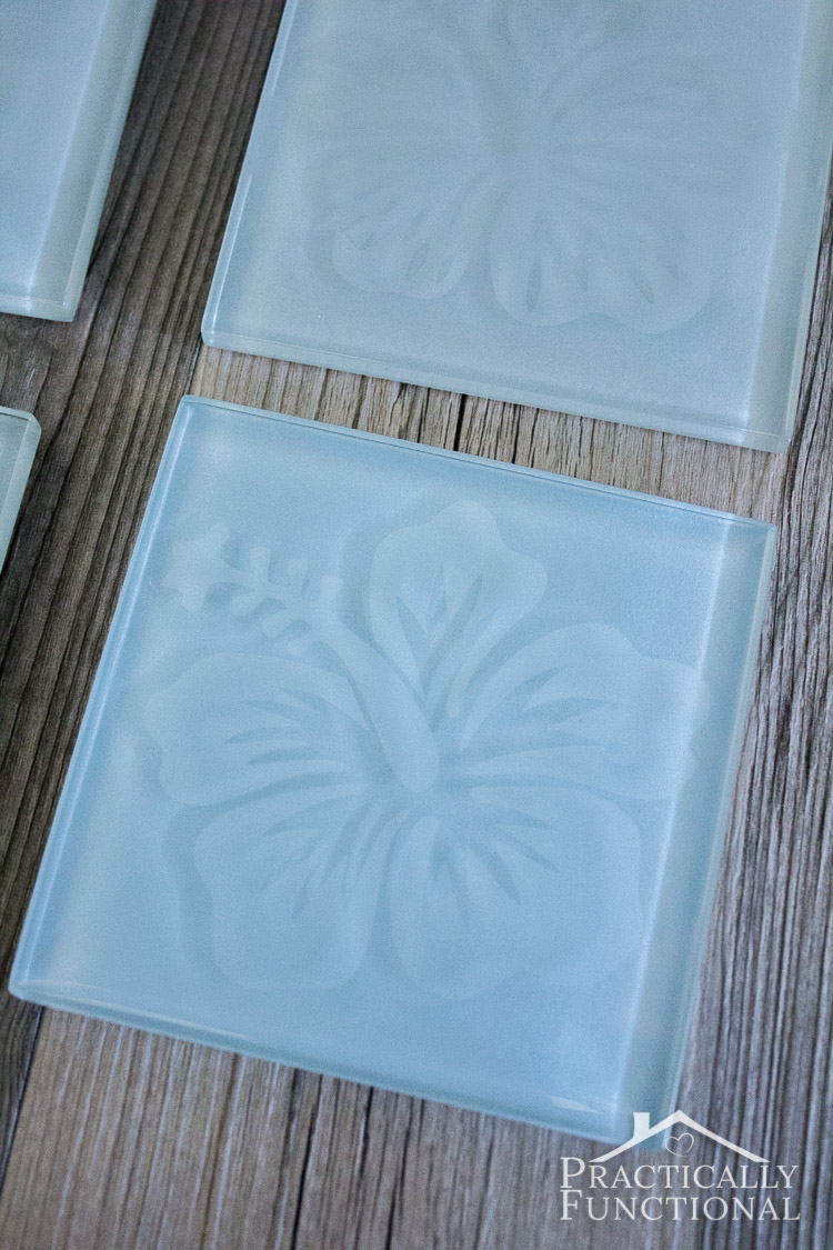 Learn how to etch glass tile coasters with this step by step tutorial; what a fun gift idea!