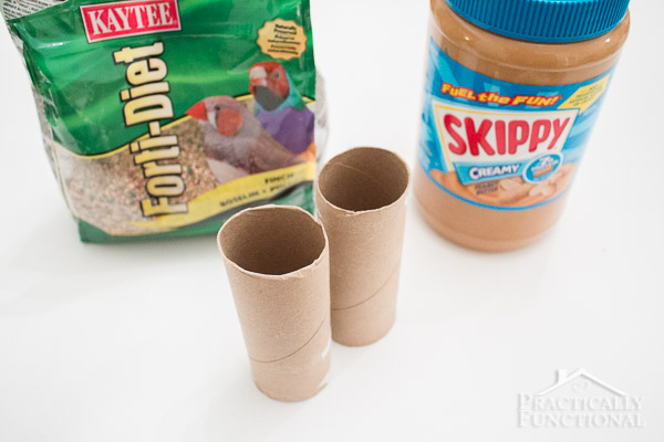 bird seed, peanut butter, and toilet paper rolls to make a bird feeder
