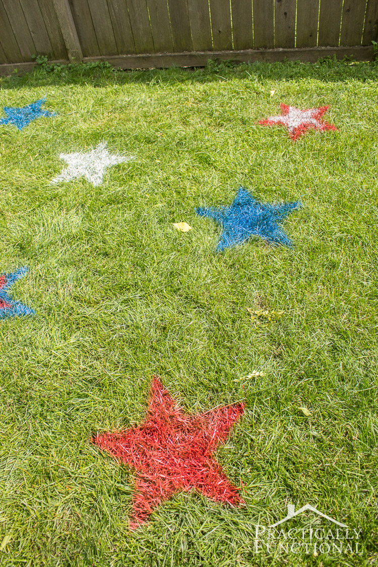 4th of july spray painted lawn stars