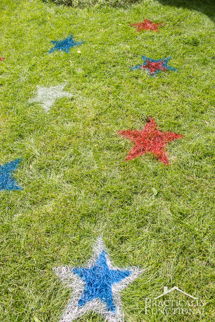 Spray Paint Stars On Grass