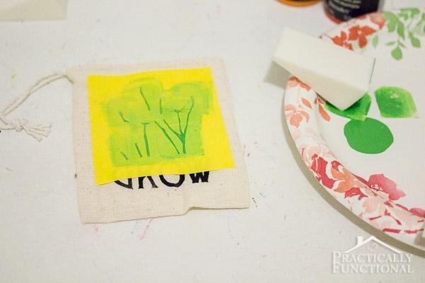 DIY Stenciled Garden Party Favor Bags-6