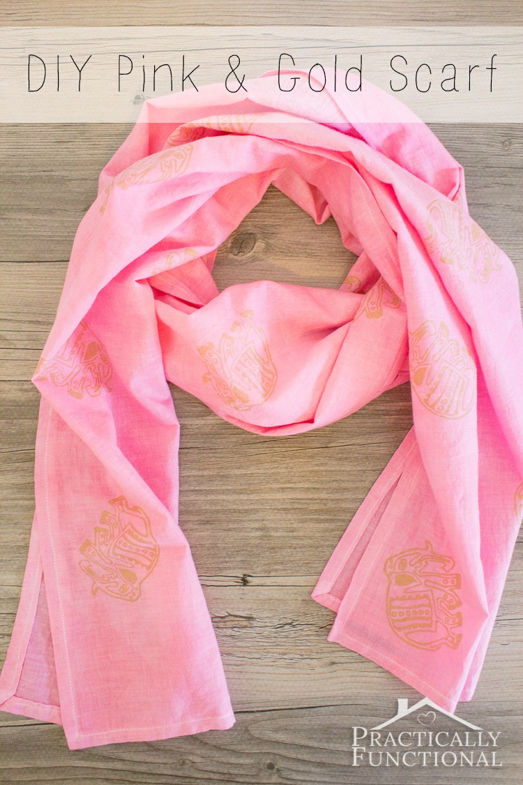 Make Your Own Lightweight Pink And Gold Elephant Scarf With Rit Dye Fabric Ink