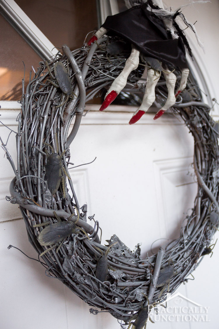 Make your own DIY Halloween wreath with creepy crawlies that glow in the dark!