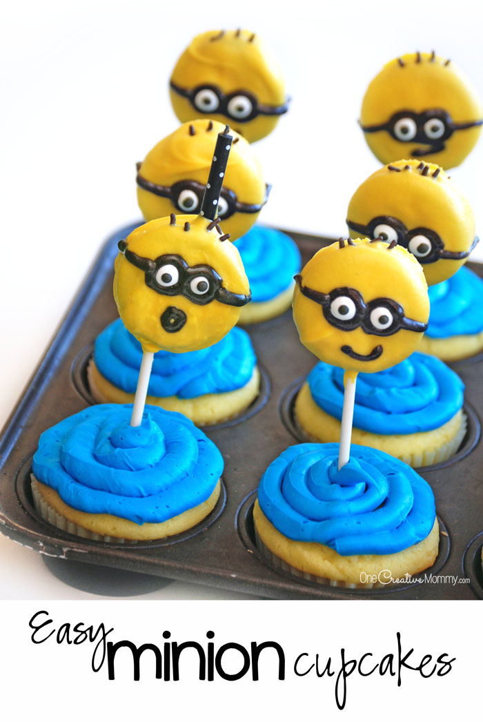 These easy Minion cupcakes are super cute and perfect for a kid's party!