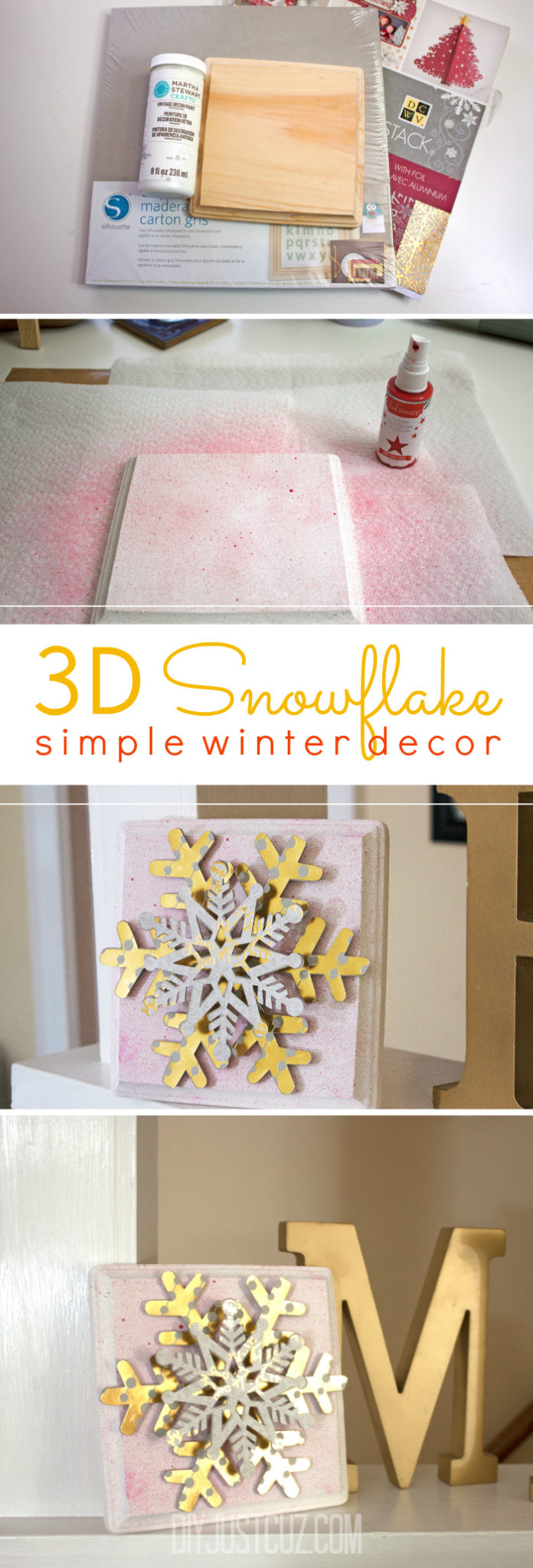 Create simple winter decor with these 3D snowflakes. They are perfect for holiday and winter decorating.