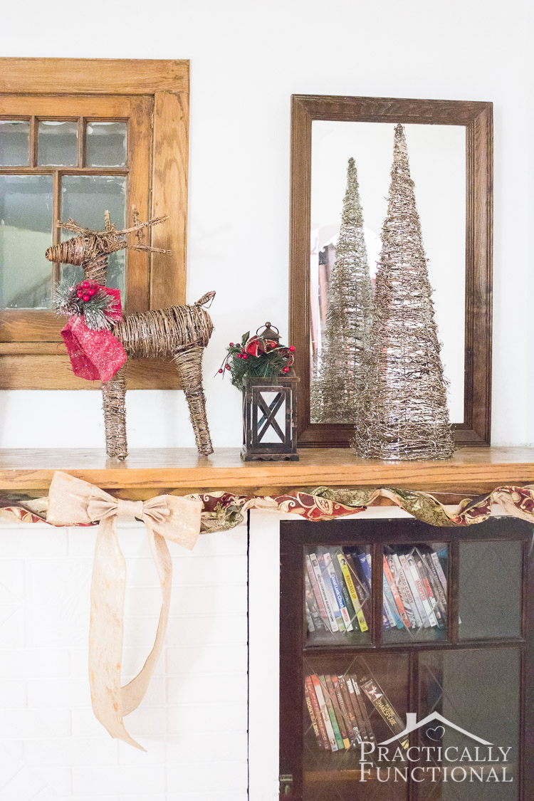 Love this Christmas mantel decor; it's so simple and cute!