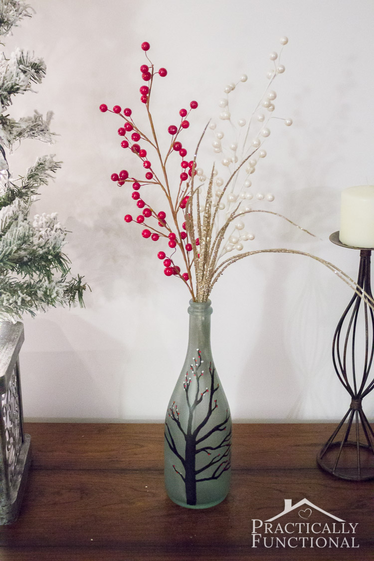Make your own DIY wintry frosted glass vase with sea glass spray paint and paint markers!