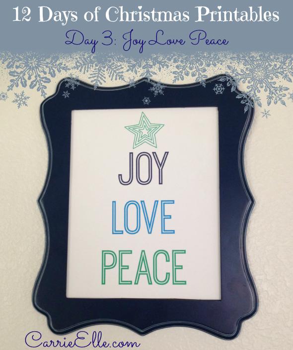 Joy Love Peace Printable - and 13 other Christmas printables!