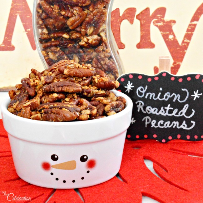 Onion Roasted Pecans - and 11 other delicious Christmas party appetizers!