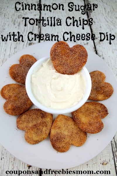 Cinnamon Sugar Tortilla Chips With Cream Cheese Dip - and 24 other delicious Valentine's Day treats!