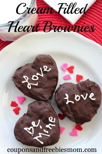 Cream Filled Heart Brownies - and 24 other delicious Valentine's Day treats!