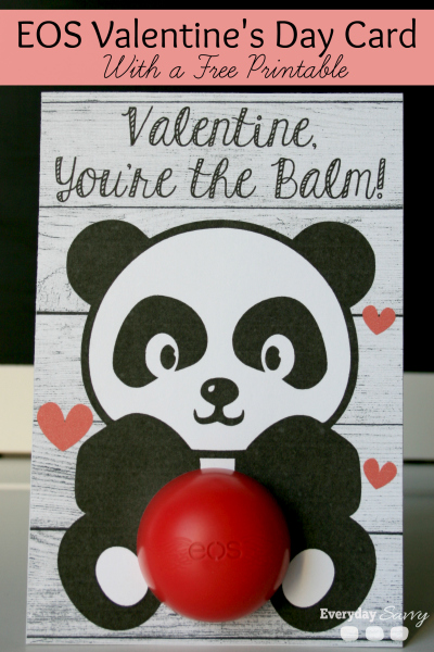 DIY Valentine EOS Lip Balm Card with a Free Printable - and 14 other cute Valentines to give this year!