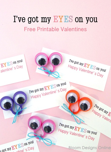I've Got My Eyes On You Printable Valentines - and 14 other cute Valentines to give this year!