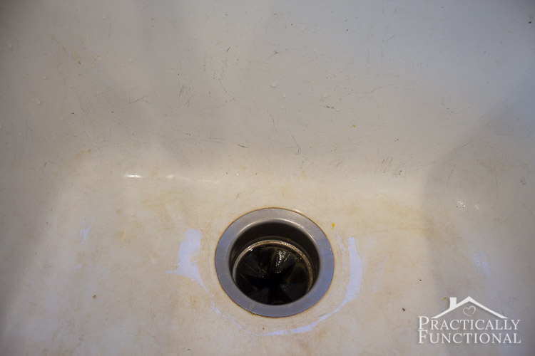 How To Clean A Porcelain Sink - even hard water discoloration stains and scuff marks