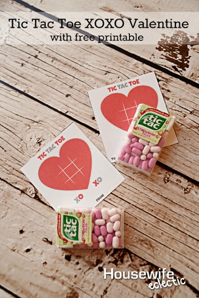 Tic Tac Toe XOXO Free Printable Valentine - and 14 other cute Valentines to give this year!