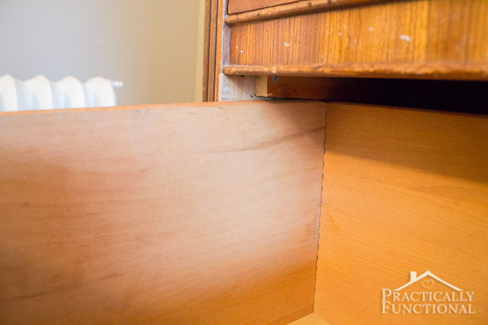 Wardrobe Refresh Part 1 - Scrap wood to help hold the weight of the drawer and keep it from falling out