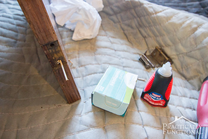 Wardrobe Refresh Part 1 - using superglue and toothpicks to fill old screw holes