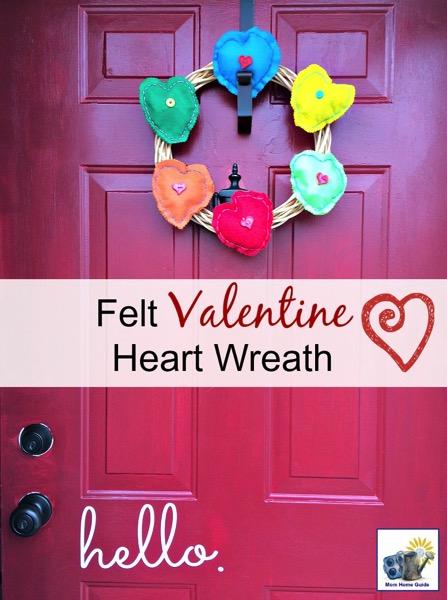 Felt Valentine heart wreath - and 18 other fun Valentine's Day crafts!