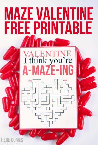 You're A-Maze-Ing Non Candy Valentines - and 14 other cute Valentines to give this year!