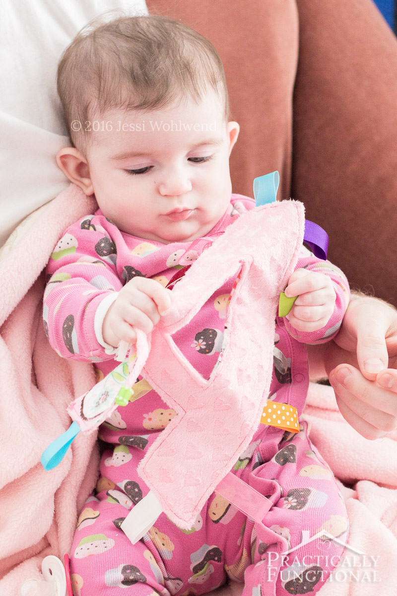 Babies love this simple, crinkly, handmade monogram tag toy; great baby shower gift!