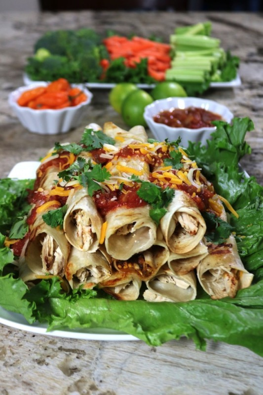 Homemade Tequila Lime Chicken Taquitos - and 17 other delicious game day appetizer recipes!