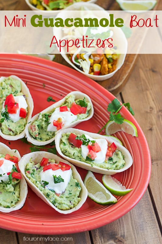 Mini Guacamole Boat Appetizer recipe - and 17 other delicious game day appetizer recipes!