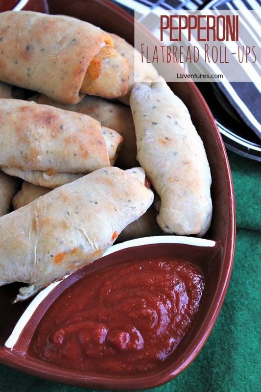 Pepperoni Flatbread Roll Ups - and 17 other delicious game day appetizer recipes!