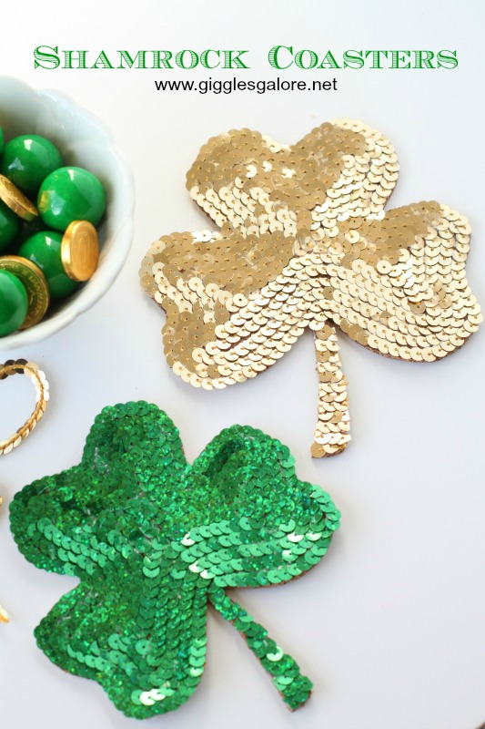 DIY Sequin Shamrock Coasters - and 16 other fun St. Patrick's Day projects!
