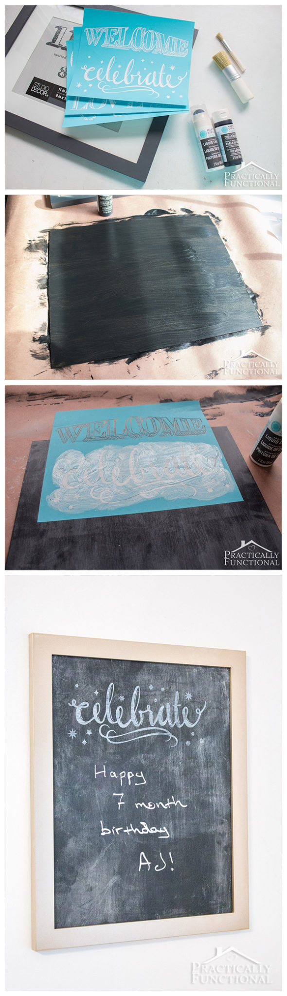 Turn an old picture frame into a DIY chalkboard sign with just a few coats of paint!