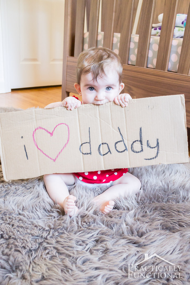 Turn a photo like this into a cute Father's Day gift! And all you need are crayons, cardboard, and a picture frame!