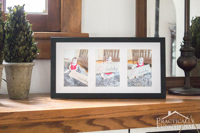 """This """"I Love Daddy"""" photo collage is such a cute Father's Day gift idea! And all you need are crayons, cardboard, and a picture frame!"""
