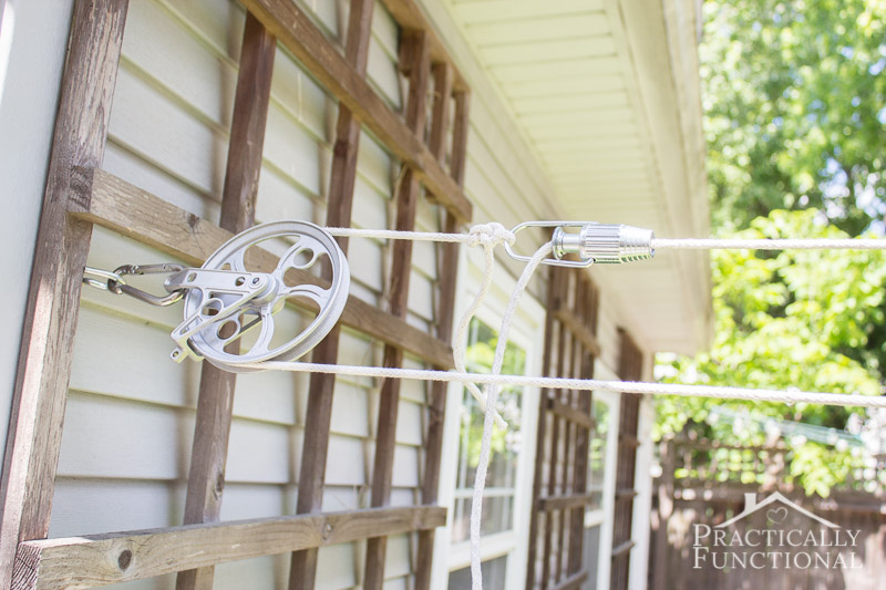 Use a line tightener to keep your DIY pulley clothesline tight even after lots of use