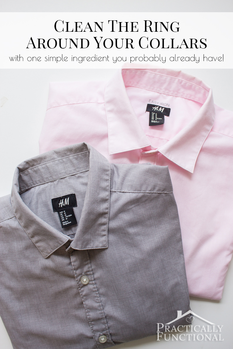 This is a really easy way to clean the ring around the collar of your dress shirts! All you need is dishwasher detergent!