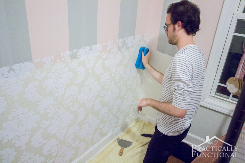 Applying Textured Wallpaper To Be The Background Of Each Panel Of Our DIY  Wainscoting