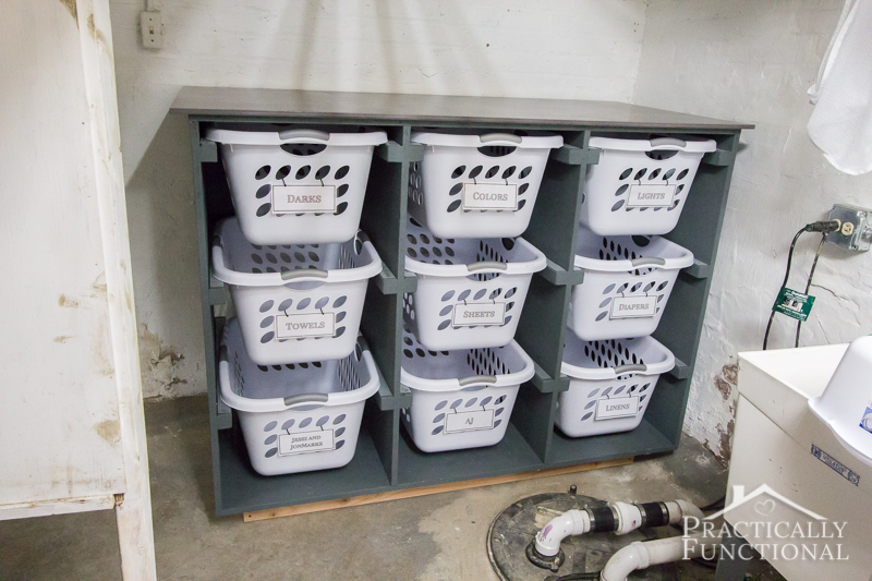 Build a simple laundry basket dresser for your laundry room