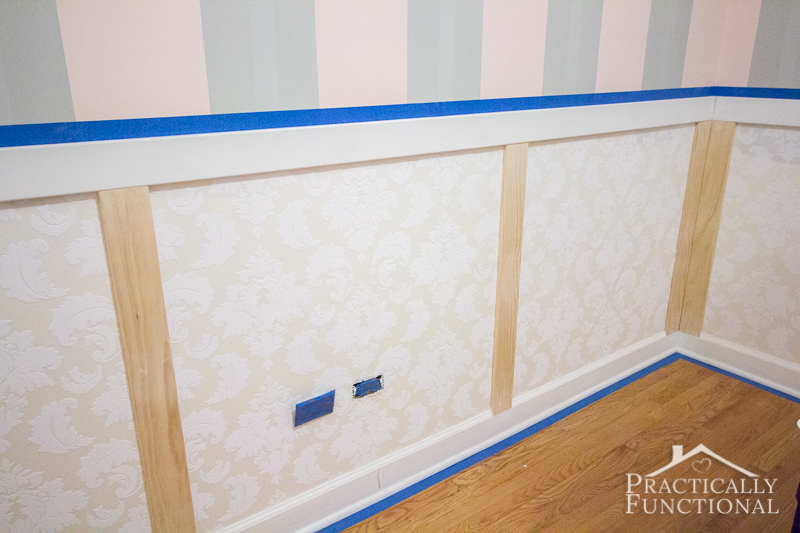 Diy Wainscoting With Textured Wallpaper In Each Panel Prepped For Painting