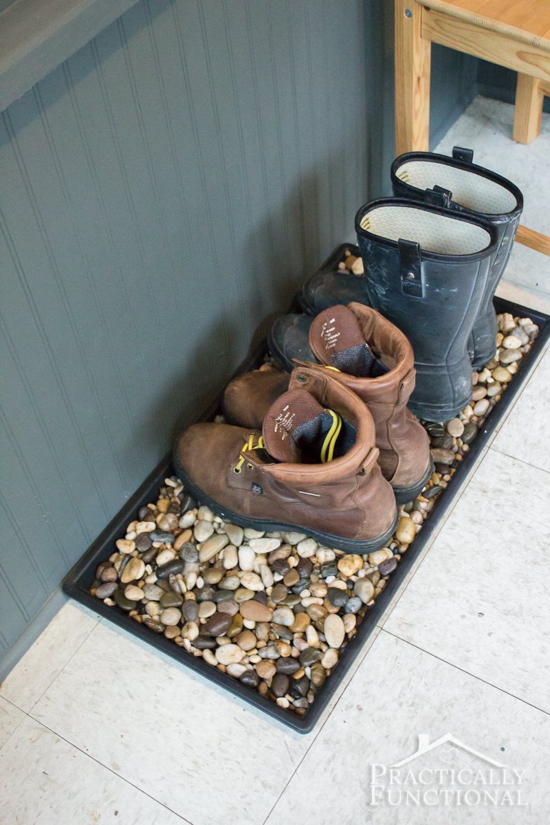 River rocks in your boot tray allow your shoes to drain better, plus it's a really pretty look!
