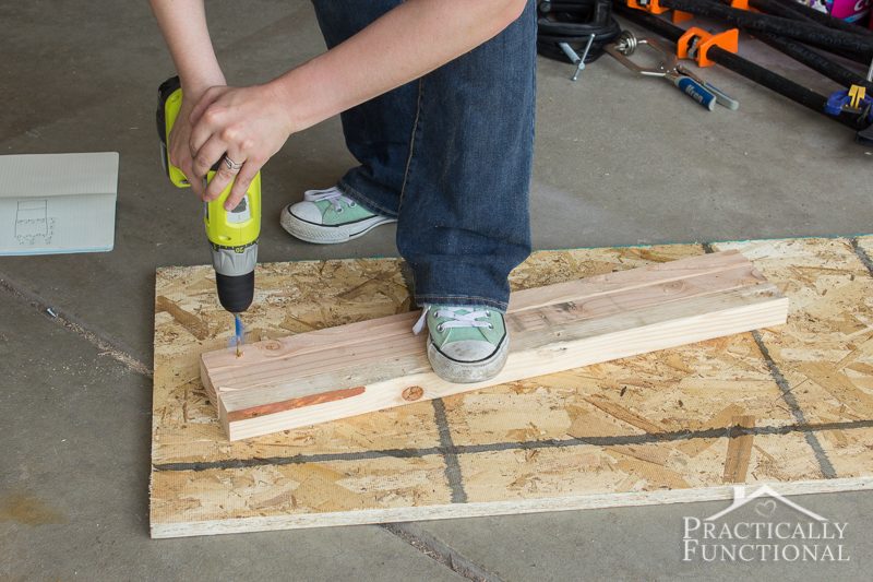 Simple DIY Laundry Basket Dresser pre drill holes in the cleats