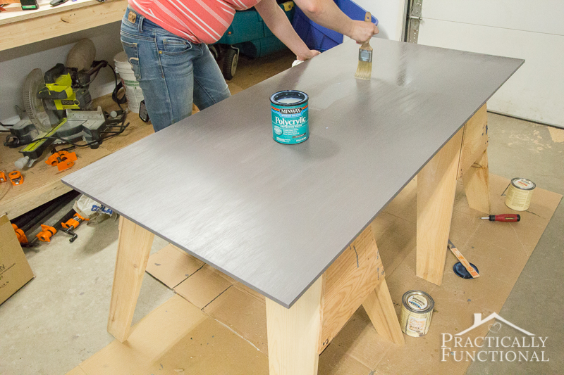 Simple DIY Laundry Basket Dresser seal the top with polycrylic