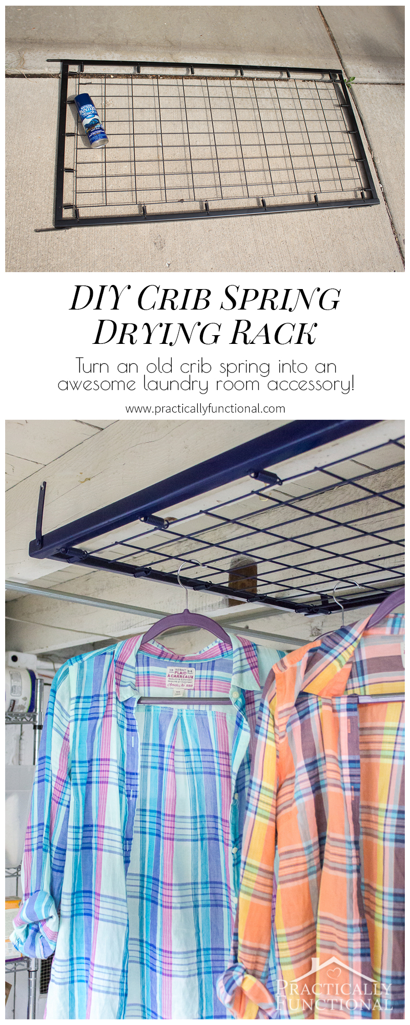 Turn an old crib spring into a functional laundry room accessory! This DIY drying rack is so quick and easy to make!