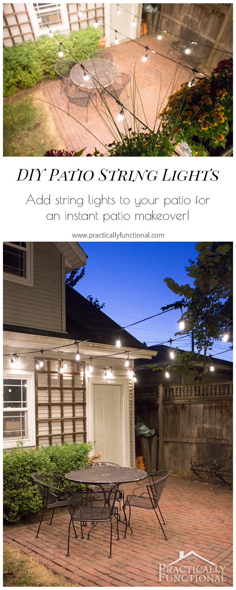 Add string lights to your patio for a quick makeover!