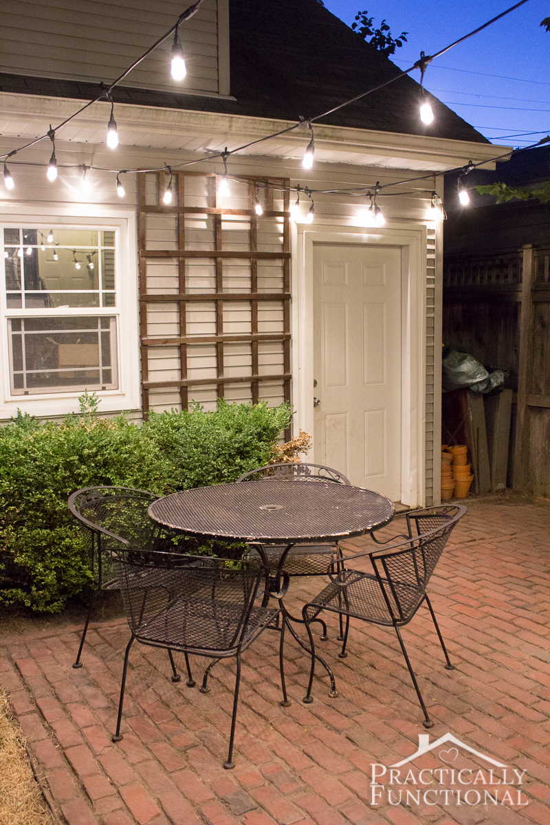 Give your patio a quick makeover with a set of string lights!