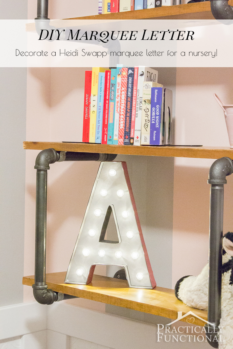 It's so easy to make a DIY marquee letter! Start with a Heidi Swapp marquee letter, and add spray paint and scrapbook paper!