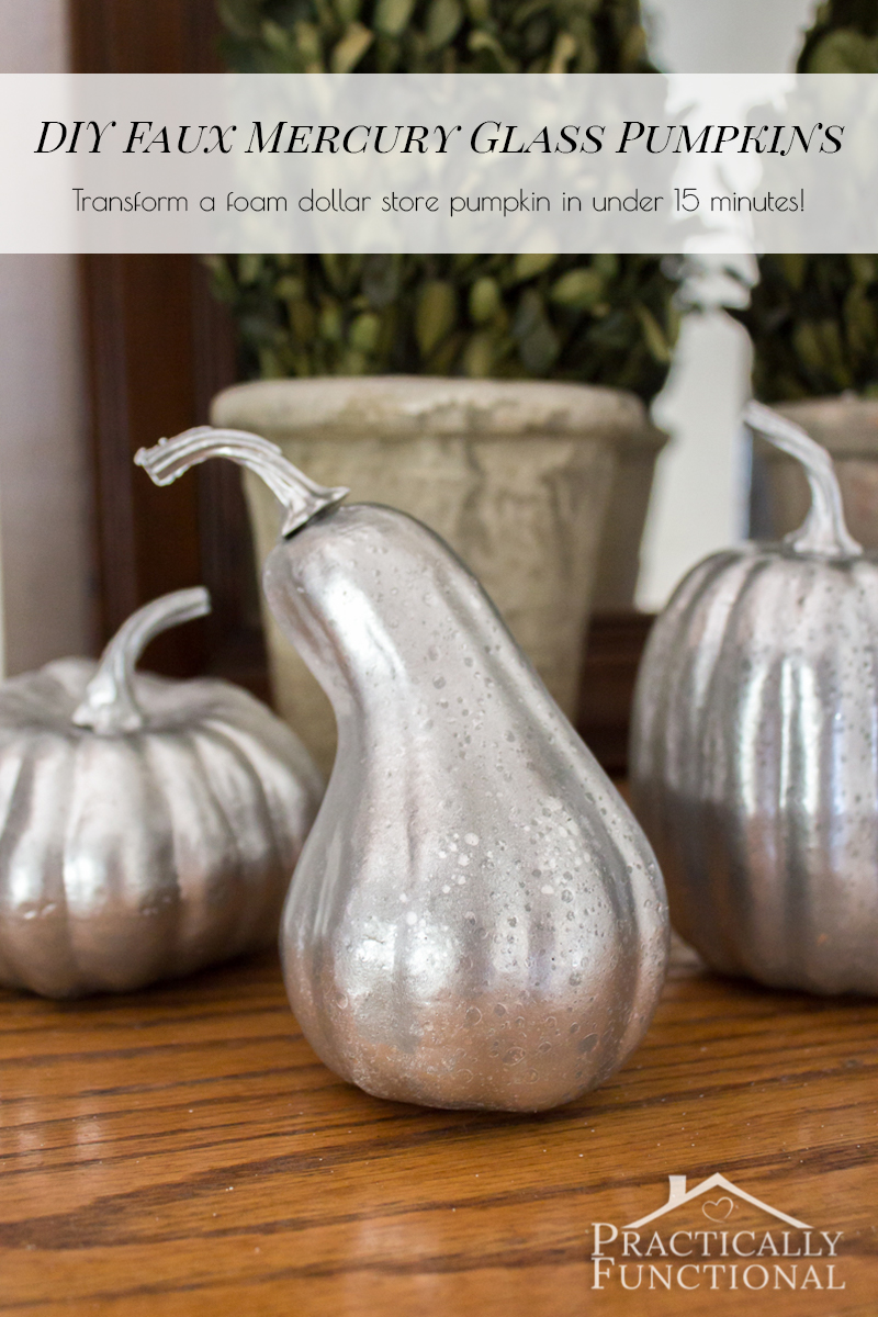 Did you know you don't have to start with a clear glass pumpkin in order to make your own faux mercury glass pumpkins? You can do it with foam pumpkins from the dollar store and a few coats of spray paint!