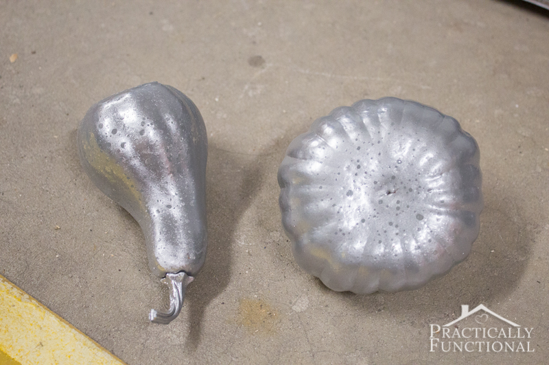 When making faux mercury glass pumpkins you can get perfectly shaped spots or a more distressed look depending on how long you wait before you wipe the water droplets off