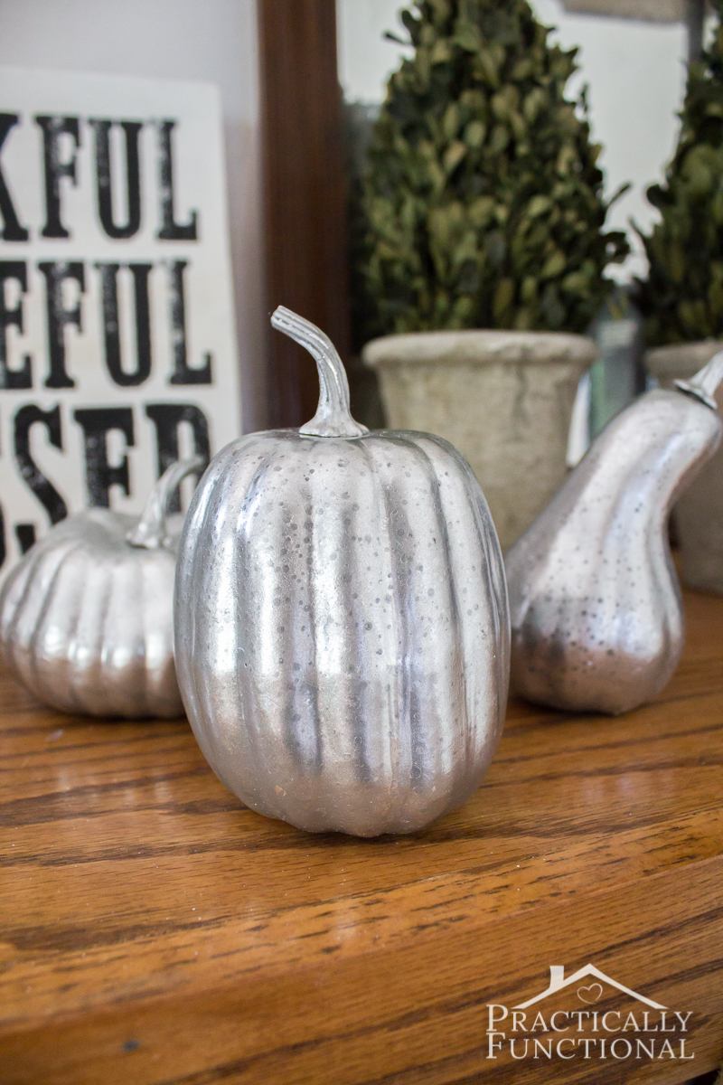 You don't need to start with a glass pumpkin to make faux mercury glass pumpkins; these were foam pumpkins from the dollar store!