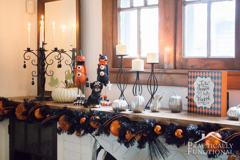diy festive halloween mantel 3