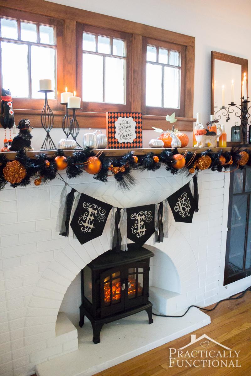 DIY Festive Halloween Mantel 7