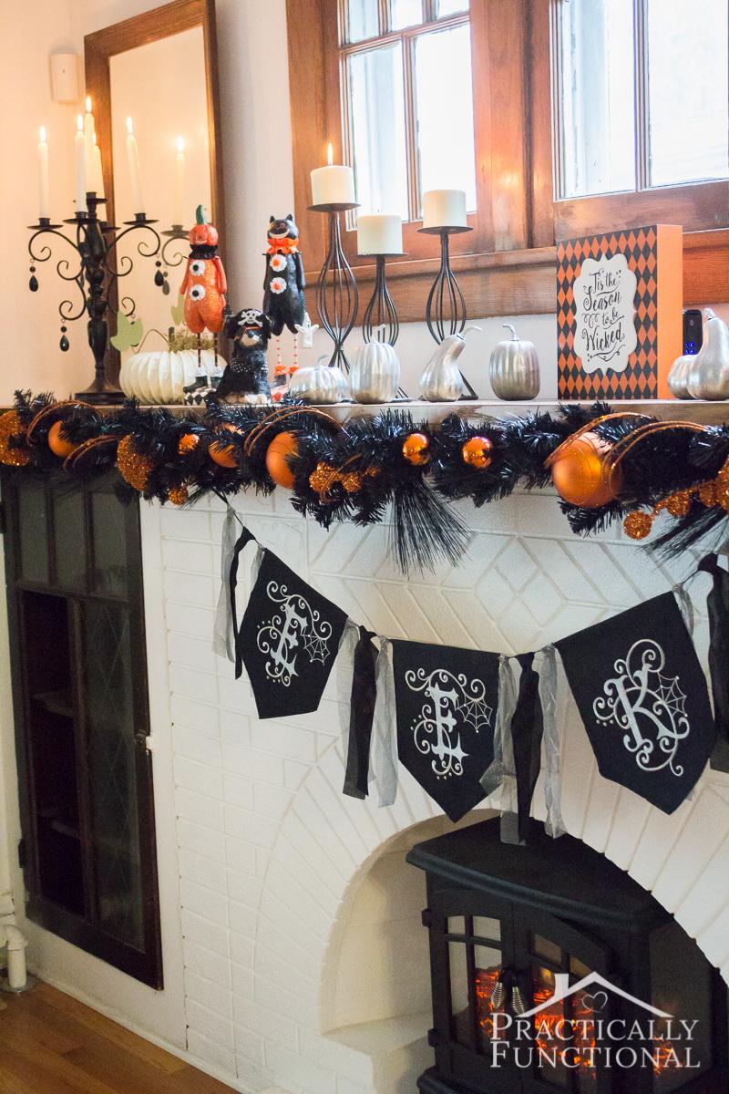 DIY Festive Halloween Mantel 9