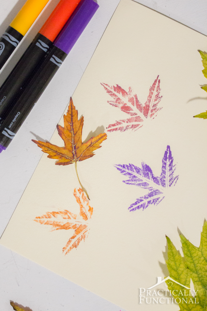 Make stamps out of real leaves using markers; you can see so much detail in the leaf!